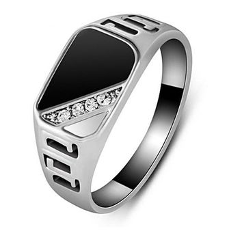 Trendy Classic Gold Silver Color CZ Black Enamel Rings-Men