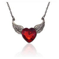 Stylish Red Rhinestone Antique Gold Plated Angel Wings Love Heart Pendant Necklace
