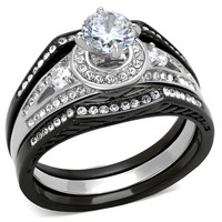 Stainless Steel 2.15 Ct Halo Round Zirconia Black Lust Stainless Steel Wedding Ring Set