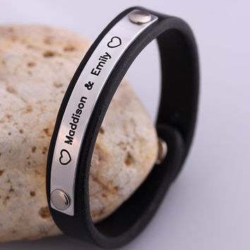 Personalized Leather Bracelet - Custom Leather Wrist Band - Handcraft Bracelet - Friendship, Wedding, Valentines, Anniversary Gift