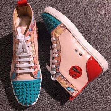 DCCK2 Cl Christian Louboutin Lou Spikes Style #2216 Sneakers Fashion Shoes