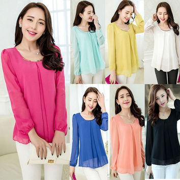 Premier Womens Summer Formal Chiffon Blouse Casual Long Sleeve Crew Neck T-Shirt Tops 7 Colors = 1695618372