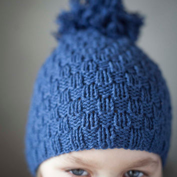 Hand Knitted Childrens Hat -September Fashion For Kid-Hand Knit Blue Children's Hat