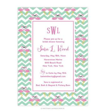 Preppy Party - Shower - Bridal - Baby Invitations - Flamingo Heart