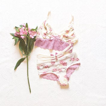 Dusty Pink 'Roses' Strappy Brazilian Panties wtih Strappy Cropped Camisole Lace and Floral Sheer Lingerie Handmade just for You by Ohh Lulu