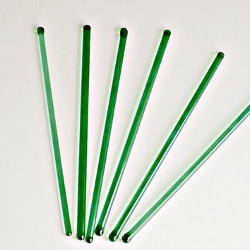 Green Glass Swizzle Sticks Lot of 6 Stirrers Barware Mixed Set Vintage