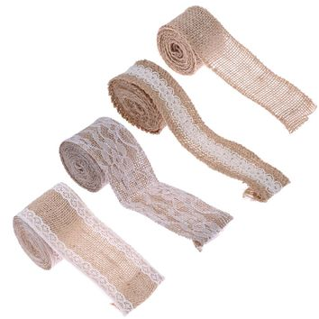 2m Natural Jute Burlap Hessian Lace Ribbon Roll Vintage Party Wedding Decoration for DIY Crafts Curtain Decor 4 Types