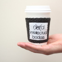 Coffee cozy/sleeve, funny coffee cup cozy, crochet  and embroidery