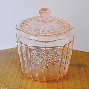 Pink Depression Glass Biscuit Jar, Anchor Hocking Glass Cookie Jar, Mayfair Open Rose Design