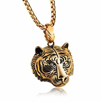 Tiger Pendant Necklaces For Men Stainless Steel Box Link Chain 3 Colors