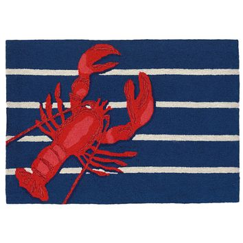 Trans Ocean Frontporch Lobster on Stripes Area Rug