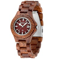 MEKU Women's Wooden Wrist Watches Quartz Wood Watch Red Sandalwood + Date Calendar Valentine Gift for Her