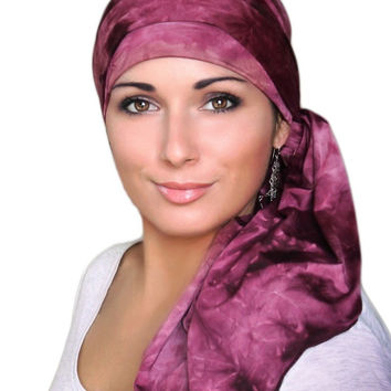 Burgundy Marble Jersey Turban, Head Wrap, Alopecia Scarf, Chemo Hat and Scarf Set