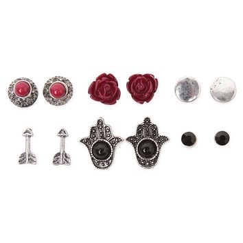 With Love From CA Hamsa Earring Pack - Womens Jewelry - Silver - NOSZ