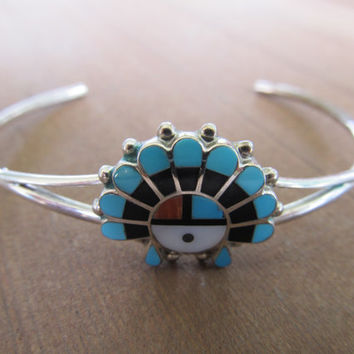 Zuni Indian Inlaid Stone & Sterling Cuff Bracelet