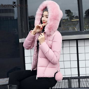 Women Winter Jacket Faux Fur Collar Hooded Slim Women's Parkas 2017 New Female Outerwear Artificial Fur Collar Winter Coat