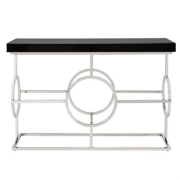 Stainless Steel Console Table With Black Top | Howard Elliott