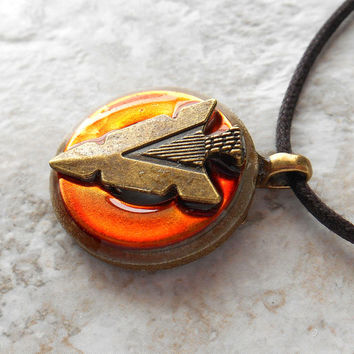 arrowhead necklace: orange - arrow necklace - arrowhead jewelry - mens necklace - mens jewelry - unique gift - fathers day - arrow head