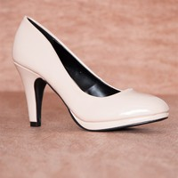 Qupid Dressy Drama Medium Heel Almond Toe Pumps Teaser-01 - Nude