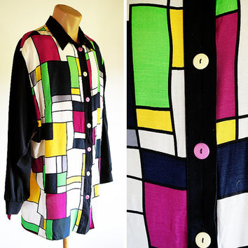 C&A Mondrian Blouse Shirt 80s Vintage Color Block Cubic Oversized Geometric Buttoned Squares Yellow Green Purple Black White De Stijl