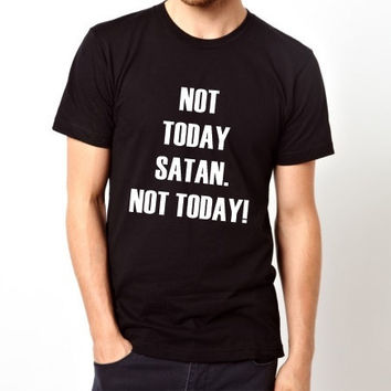 Not today Satan. Not today! Motivational Typography Men and Women Lightweight Cotton Christian T-shirt