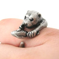 Otter Holding a Fish Shaped Animal Wrap Around Ring in Silver   US Sizes 4 to 9 Available
