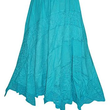 Womens Skirt Gypsy Blue Embroidered Long Maxi Skirts M/L