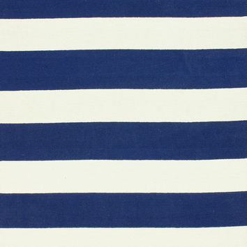 Striped 100% Wool Area Rug in Navy design by NuLoom