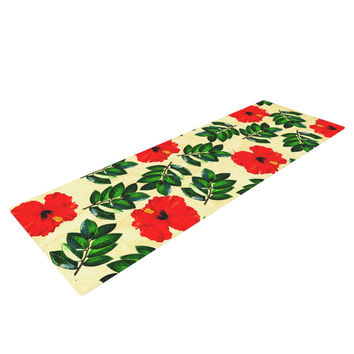 "Sreetama Ray ""No More Peonies"" Red Green Yoga Mat"