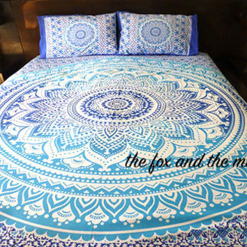 Blue ombre mandala tapestry duvet cover, flat bed sheet & 2 pillow cases. bohemian bedding, roundie mandala bed set, boho bedding