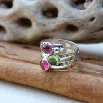Birthstone Ring. Fairy Tale Ring. Three stone. Sterling Silver. Colorful. Mother's Ring Birthstones.Grandmothers.Grandma. Sisters. Friends