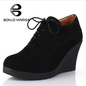 BONJOMARISA Brand High Heel Wedges Shoes Platform Pumps Women Lace up Casual Shoes Sexy Women Shoes Fall Winter Sexy Pumps