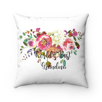 World's Best Grandma Faux Suede Square Pillow, Pink Rose Throw Pillow, Throw Pillow fro Grandma