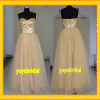 2014 HOT Gold A line Organza Sequin Long Cheap Evening Dresses/Prom Dress/Formal Dress/Party Dresses/Pageant gown/Homecoming Dress 2014