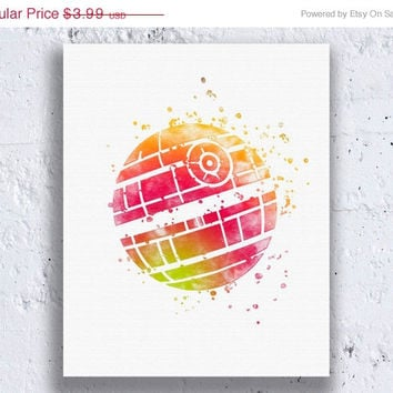 Death Star Print Star Wars Print Star Wars Art Star Wars Artwork Star Wars Wall Art Star Wars Decor Watercolor Wall Art Instant Download