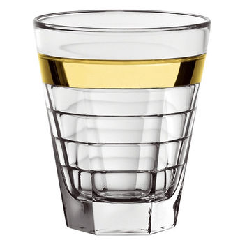 Majestic Gifts E64326-S6 Quality Glass Double Old Fashioned Tumbler with Gold Band 11.5 oz. Set of 6