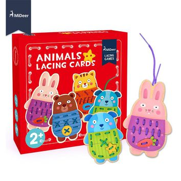 MiDeer Button-Up Wooden Animals Lacing Cards Fine Motor Skill Educational Sewing Toys for Preschool Children Kids Christmas Gift