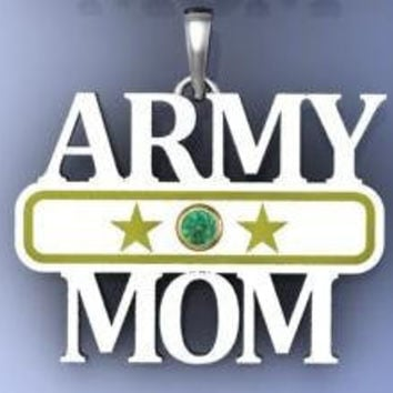 Army Mom Pendant with Personalized Birthstone in by NaomisCo2