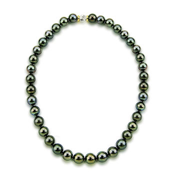 11-12mm Black Tahitian Cultured Pearl Necklace 18 Inches AAA Quality with 14K Yellow and White Gold Clasp