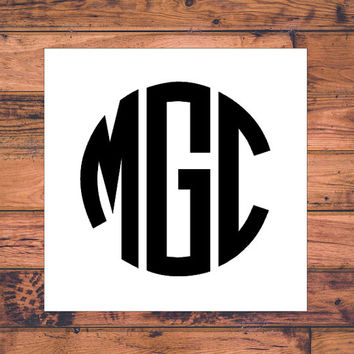 Block Monogram Decal | Circle Monogram Decal | Initial Decal | Vinyl Sticker | Vinyl Decal | Car Monogram Decal | Car Monogram Sticker | 006