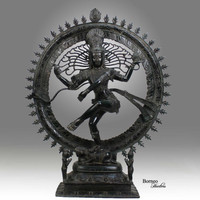 "Shiva Nataraja 24.75"" Lord Of Dance  Destroyer Of Ignorance In The World; Bronze Shiva In A Ring Of Fire Hindu God Diety Sculpture"