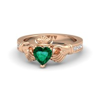 Heart Emerald 18K Rose Gold Ring with Diamond & White Sapphire