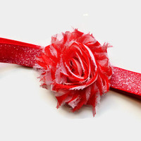 Red and White Flower Christmas Headband for Girls - Red Glitter Headband for Toddler - Shabby Flower Headband - Christmas Photo Prop