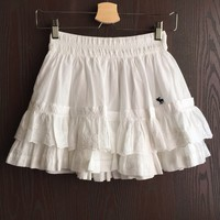 White Floral Eyelet Ruffle Tiered Mini Skirt