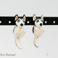 Custom Dog Two-Part Earrings,  Fake gauges, Gift for pet lover, personalized Earrings, Pet Portrait, Pet Loss Gift, Made-to-order