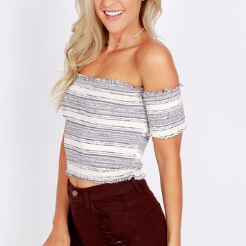 Off-The-Shoulder Crop Top Oatmeal/Pink