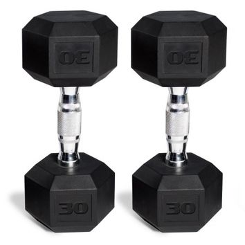 CAP Barbell Rubber-Coated Hex Dumbbells, Set of 2 - Walmart.com