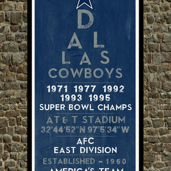 Dallas Cowboys - Eye Chart chalkboard print - sports, football, gift for fathers day, subway sign - Eyechart wall art