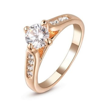 Great Deal 18k White Gold Plated 0.8ct Simulated Diamond Engagement Promise Ring For Women = 1931824068