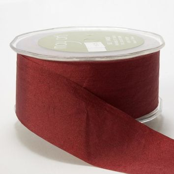 "Faux Silk Ribbon in Burgundy - 1.5"" Wide x 50 yd"